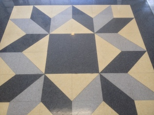 Floor designed to look like quilt blocks