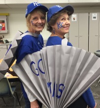 Linda Graham dressed up as a Royals fan for Halloween.